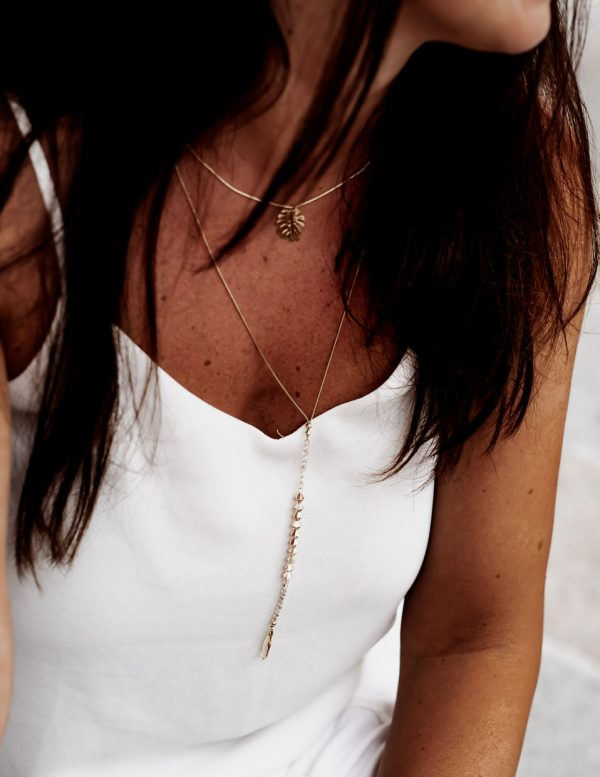 Bead X Drop Necklace Gold
